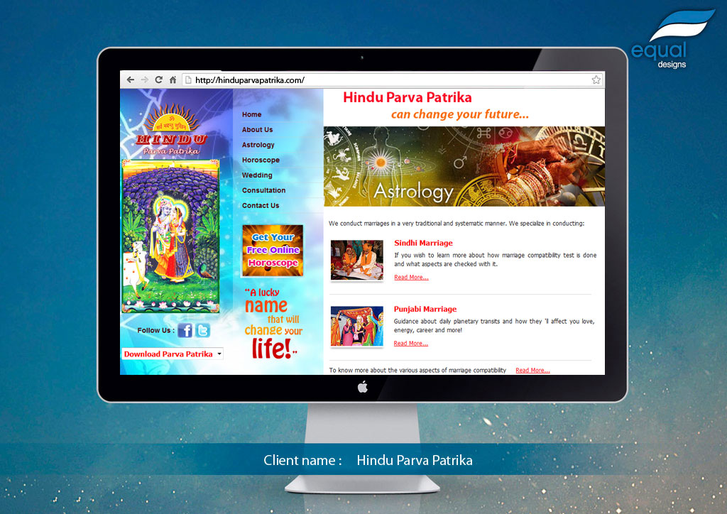 Website Design for Hindu Parva Patrika